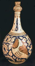 Pear-Shaped Bottle with Birds
