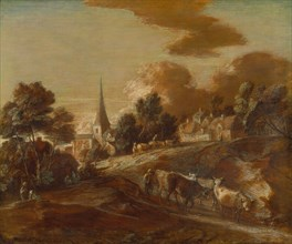 An Imaginary Wooded Village with Drovers and Cattle, between 1771 and 1772.