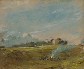 Hampstead Heath, with a Bonfire;Hampstead Heath;Hampstead Heath, with figures round a bonfire, ca. 1822.