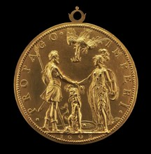 Louis XIII as Dauphin between Henri IV as Mars and Marie as Pallas Athena [reverse], 1603.