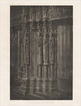 Planche XIII ? Cathédrale de Chartres, Statues Colonnes de la Porte Centrale du Portail Royal (Plate XIII ? Chartres Cathedral, Statue Columns in the Central Door of the Royal Entrance), 1855, printed...