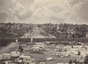Columbia from the Capitol, 1865-1866. Destruction of Columbia after General Sherman's men burned the town near the end of the Civil War.