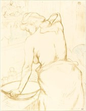 Woman Washing Herself (Femme qui se lave), 1896. Observations of daily life inside a Parisian brothel where Lautrec resided.