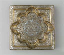 Square Tray with Recessed Medallion, Iran, early 13th century. Kufic inscription conveys lengthy benedictions in Arabic to an anonymous owner.