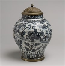 Jar with Lion and Landscape Elements, Iran, first half 18th century. Chinese ceramics in the Islamic world continued into the Safavid era in Iran