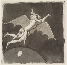 Catherine the Great, naked, flying away from the Earth on the Back of a Man with Bat Wings, Second Half of the 18th cen. Found in the collection of Statens Museum for Kunst, Copenhagen.