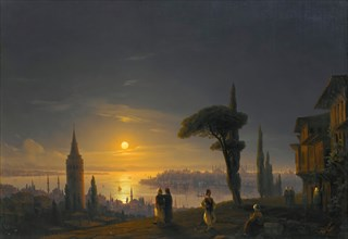 The Galata Tower By Moonlight , 1845. Private Collection.
