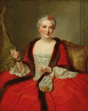 Portrait of an elegant lady, holding a weaving shuttle, 1751. Private Collection.