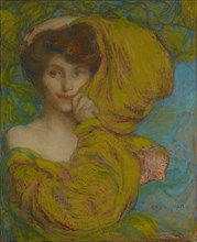 Young woman with yellow scarf, c. 1900. Found in the collection of Musée Baron Martin, Gray.