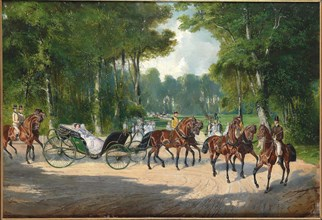 Empress Elisabeth in a carriage in Vienna's Prater, ca 1860. Private Collection.