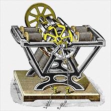 Early electric motor, designed and built by the physicist and engineer Moritz von Jacobi Jacobi (1801-1874). Private Collection.