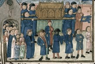 """Procession of the relics of Saint Nicholas. From """"Livre de la confrérie Saint-Nicolas de Valenciennes"""" (MS. 0536), Late 15th cen. Found in the collection of Institut de recherche et d?histoire des tex..."""