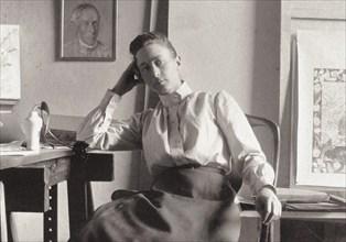 Hilma af Klint in her studio at Hamngatan, Stockholm, c. 1895. Found in the collection of Courtesy of Stiftelsen Hilma af Klints Verk.