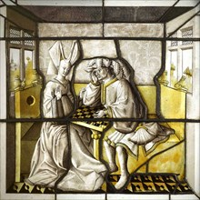 Les Joueurs d'échecs (Chess players), 15th century. Found in the collection of Musée national du Moyen Âge (Musée de Cluny).
