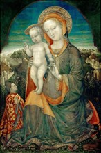 The Madonna of Humility Adored by Lionello d'Este, ca 1445. Found in the collection of Musée du Louvre, Paris.