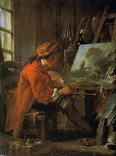 The painter in his studio (Self-Portrait), ca 1730. Found in the collection of Musée du Louvre, Paris.