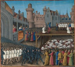 Massacre of the Saracen prisoners, ordered by King Richard the Lionheart, 1191, 1474-1475. Found in the collection of Bibliothèque Nationale de France.