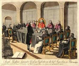 Joseph Balsamo, comte de Cagliostro, before the Inquisition in Rome on April 14, 1791, 1791. Private Collection.