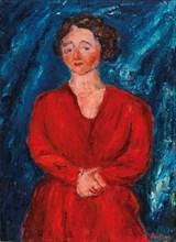 La Femme en rouge au fond bleu, ca 1928. Private Collection.