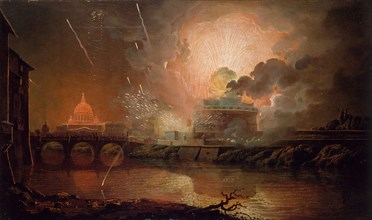 Firework Display at the Castel Sant Angelo, 1774-1778. View of Rome at night with St Peter's and the Vatican lit up in the background.