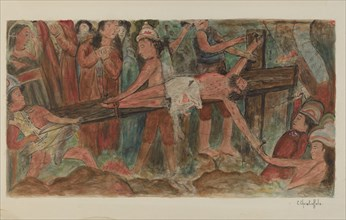 """Stations of the Cross No. 11. """"Jesus is Nailed to the Cross, 1941."""