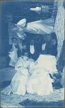 Untitled (Double exposure of several people in interior), 1890s.