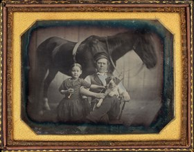 Portrait of a Man and Girl with Horse and Dog, c. 1845.