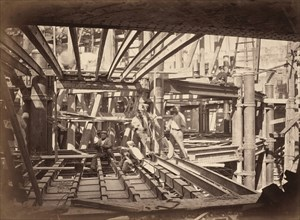 Workers on Girders of Auditorium, New Paris Opera, c. 1867.