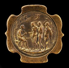 Sword Pommel with inset plaquette of The Judgment of Paris [detachable obverse of pommel], second half 15th century.