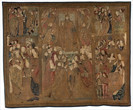 "The Triumph of Christ (""The Mazarin Tapestry""), c. 1500. on the left emperor Augustus is with the Tiburtine sibyl"