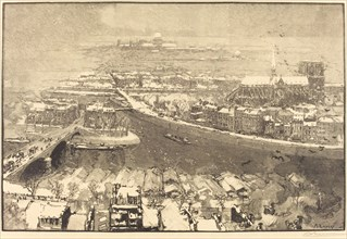 Paris under Snow, View from St.-Gervais (Paris sous la neige, vu du haut de St.-Gervaais), 1890.