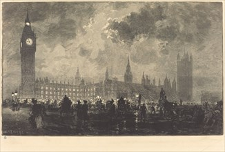 Parliament at 9 o'Clock in the Evening - London (Le parlement a 9 heures du soir - Londres), 1890.