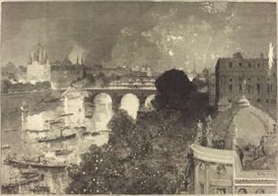 Le 14 Juillet. Illumination de la Seine du Pont Neuf au Pont au Change, 1882.
