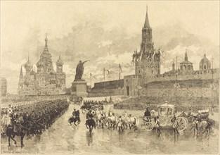 Le Couronnement du Tzar. Le Cortège imperiale traverse la Place Royale, 1883.