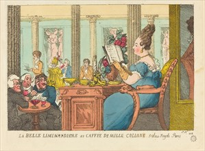 La Belle Limonaudiere au Cafe des Mille Colonnes, Palais Royal, Paris, 1814.