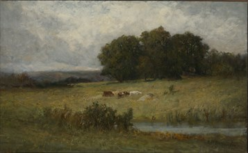 Bright Scene of Cattle near Stream.
