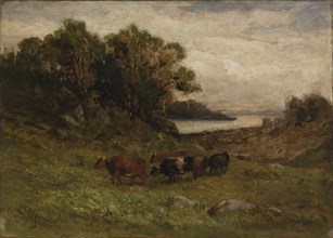 Untitled (five cows grazing with trees and river in background).