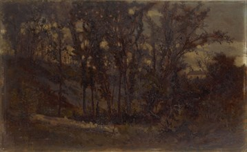 Untitled (forest scene, fallen tree in foreground and house in background), 1873.