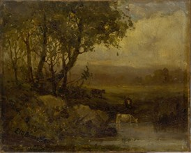 Untitled (landscape, riverbank, three cows).