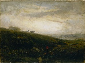 Untitled (cows descending hillside), 1881.