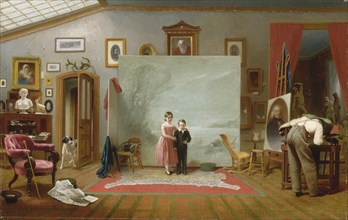 Interior with Portraits, ca. 1865. The little boy had just died when the picture was requested, but he was not then the small child shown here. Rather, he was a 26-year-old volunteer firefighter who h...