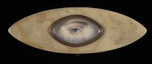 Eye Miniature on an Elliptical Ivory Box, ca. 1800.
