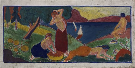 (Women in Landscape with Blue Border), before 1932.
