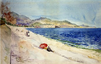 On the Beach below the Promenade des Anglais, Nice, France, 1898.