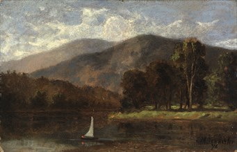 Untitled (sailboat in river), 1876.
