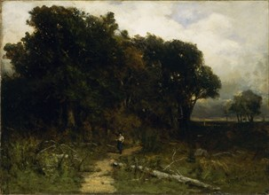 Untitled (landscape, woodcutter on path), 1879.