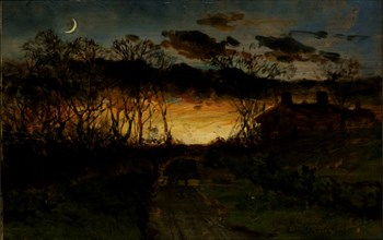 Untitled (sunset with quarter moon and farmhouse), 1883.
