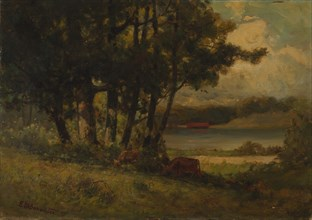 Untitled (landscape with cows grazing near river), 1891.
