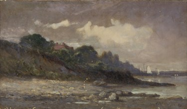 Untitled (shoreline with sailboats and roof), 1893.