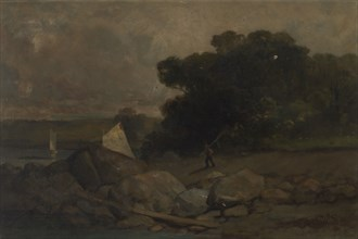 Untitled (landscape with rocks, man and sailboats), 1895.